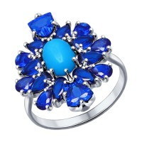 Кольцо с бирюзой (синт.) и синими фианитами