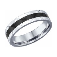 Кольцо с эмалью и алмазной гранью